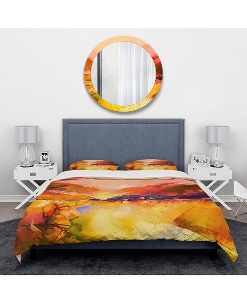 Design Art Designart 'Colorful Yellow Red Floral Background' Traditional Duvet Cover Set - King