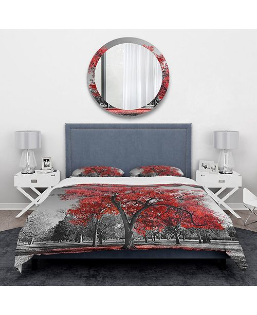 Design Art Designart 'Big Red Tree On Foggy Day' Traditional Duvet Cover Set - Queen