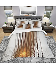 Designart 'Yellow Fractal Flames Pattern' Modern and Contemporary Duvet Cover Set - King