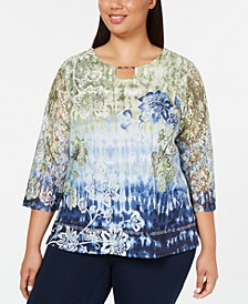 Plus Size Lake Tahoe Lace-Sleeve Top