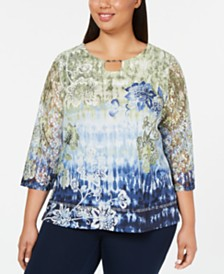 Alfred Dunner Plus Size Lake Tahoe Lace-Sleeve Top