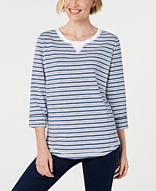 Petite Striped 3/4-Sleeve Sweatshirt, Created for Macy's