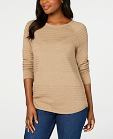 Karen Scott Ribbed Cotton Pullover Sweater, Created for Macy's