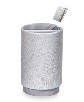 Grey Wood Toothbrush Holder