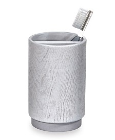 DKNY Grey Wood Toothbrush Holder