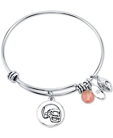 Football Charm and Cherry Quartz Stone (8mm) Bangle Bracelet in Stainless Steel