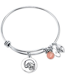 Unwritten Football Charm and Cherry Quartz Stone (8mm) Bangle Bracelet in Stainless Steel
