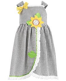 Little Girls Check-Print Seersucker Sunflower Dress