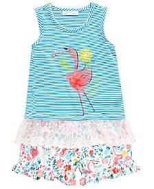 Little Girls 2-Pc. Flamingo Top & Floral-Print Shorts Set