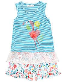 Bonnie Jean Toddler Girls 2-Pc. Flamingo Top & Floral-Print Shorts Set