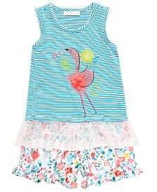 Bonnie Jean Little Girls 2-Pc. Flamingo Top & Floral-Print Shorts Set