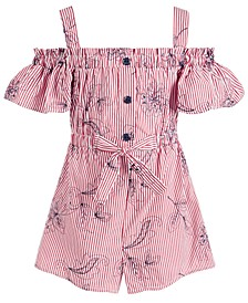 Little Girls Striped Cold-Shoulder Cotton Romper