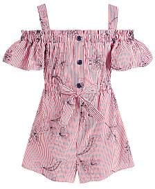 Bonnie Jean Little Girls Striped Cold-Shoulder Cotton Romper