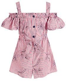 Bonnie Jean Little Girls Striped Cold-Shoulder Cotton Romper