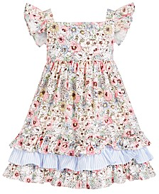 Bonnie Jean Toddler Girls Floral-Print Flutter-Sleeve Dress