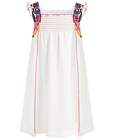 Little Girls Smocked High-Low Crepe Dress