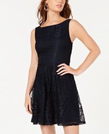 City Studios Juniors' Bow-Back Lace Dress