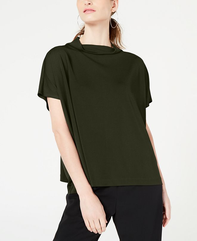 Alfani Mock-Neck Short-Sleeve Top, Created for Macy's