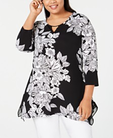 JM Collection Plus Size Printed Embellished Keyhole Top, Created for Macy's