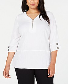 Plus Size Quarter-Zip Top, Created for Macy's