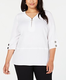 JM Collection Plus Size Quarter-Zip Top, Created for Macy's