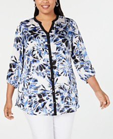 JM Collection Plus Size Contrast-Band Printed Blouse, Created for Macy's