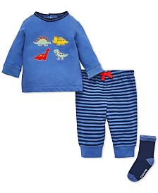 Little Me Baby Boys 3-Pc. Cotton Dinosaur Top, Jogger Pants & Socks Set