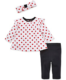 Little Me Baby Girls 3-Pc. Dot-Print Headband, Tunic & Leggings Cotton Set