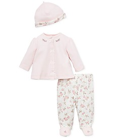 Little Me Baby Girls 3-Pc. Cotton Hat, Jacket & Floral-Print Footed Pants Set