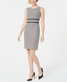 Kasper Geo-Print Contrast-Trim Dress