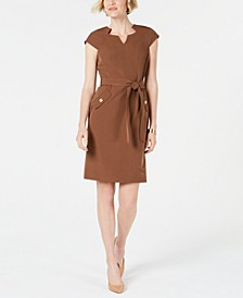 Belted Cap-Sleeve Dress