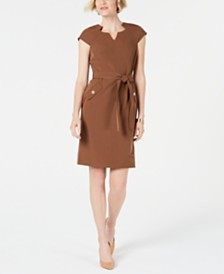 Kasper Seam-Detail Tie-Waist Dress