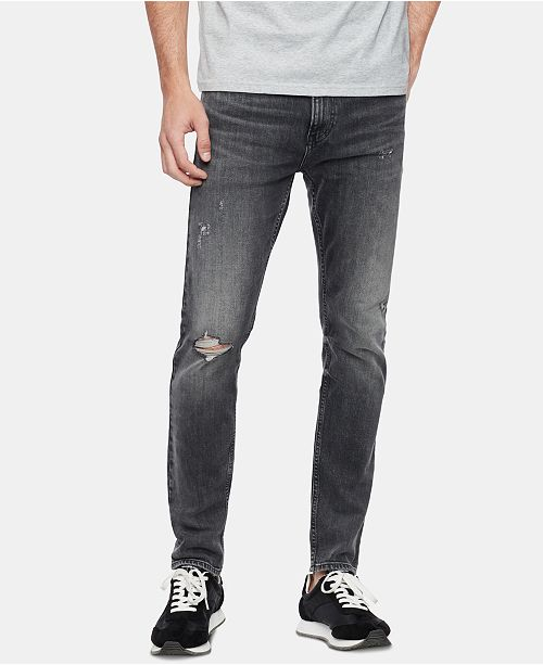 Calvin Klein Jeans Men's Skinny-Fit Stretch Destroyed Jeans