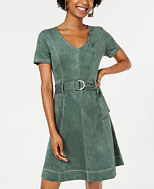 Rosie Harlow Juniors' Belted Faux-Suede Dress, Created for Macy's