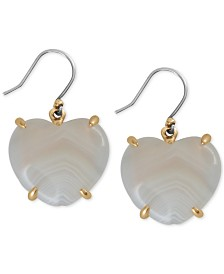 Lucky Brand Gold-Tone Imitation Mother-of-Pearl Heart Drop Earrings