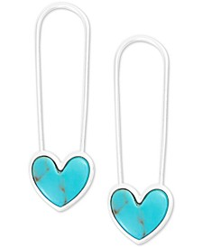Silver-Tone Stone Heart Safety Pin Drop Earrings