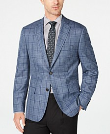 Men's Classic-Fit UltraFlex Stretch Light Blue Plaid Sport Coat
