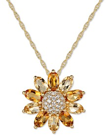"Citrine (1-9/10 ct. t.w.) & White Topaz (1/5 ct. t.w.) 18"" Pendant Necklace in 14k Gold-Plated Sterling Silver"