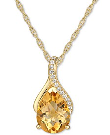 "Citrine (1-1/2 ct. t.w.) & Diamond (1/20 ct. t.w.) 18"" Pendant Necklace in 14k Yellow Gold (Also available in Blue Topaz, Amethyst & Rhodolite Garnet)"