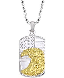 "Two-Tone Eagle and Flag Dog Tag 24"" Pendant Necklace in Stainless Steel"