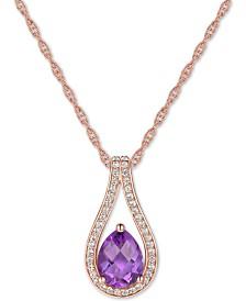 """Amethyst (1 ct. t.w.) & Diamond (1/6 ct. t.w.) Teardrop 18"""" Pendant Necklace in 14k Rose Gold"""