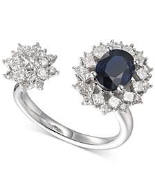 Sapphire (1-1/3 ct. t.w.) & Diamond (1 ct. t.w.) Cuff Ring in 14k White Gold