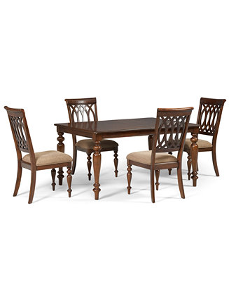 Crestwood dining room furniture 5 piece set dining table for Macys dining table