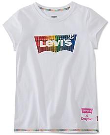 Levi's® Toddler Girls Crayola Rainbow Batwing Logo Cotton T-Shirt