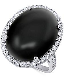 Onyx (20 x 15mm) & Swarovski Zirconia Statement Ring in Sterling Silver