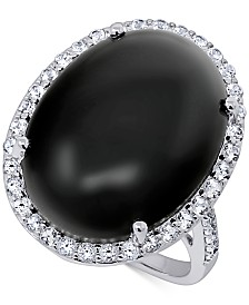 Onyx (20 x 15mm) & Swarovski Zirconia Statement Ring in Sterling Silver