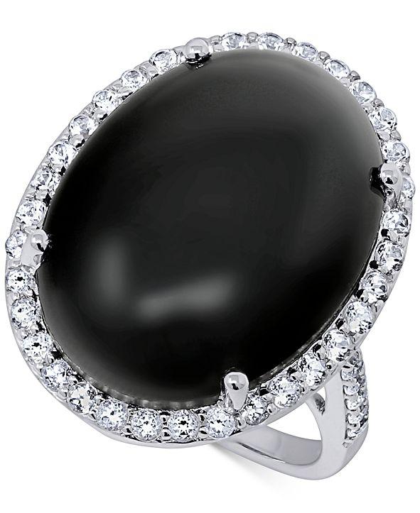 Macy's Onyx (20 x 15mm) & Swarovski Zirconia Statement Ring in Sterling Silver