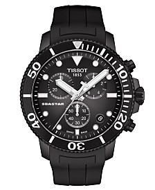 Tissot Men's Swiss Chronograph SeaStar Black Rubber Strap Watch 45.5mm
