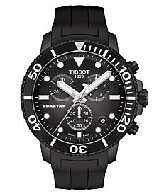 Tissot Men's Swiss Chronograph SeaStar Black Rubber Strap Watch 45.5mm
