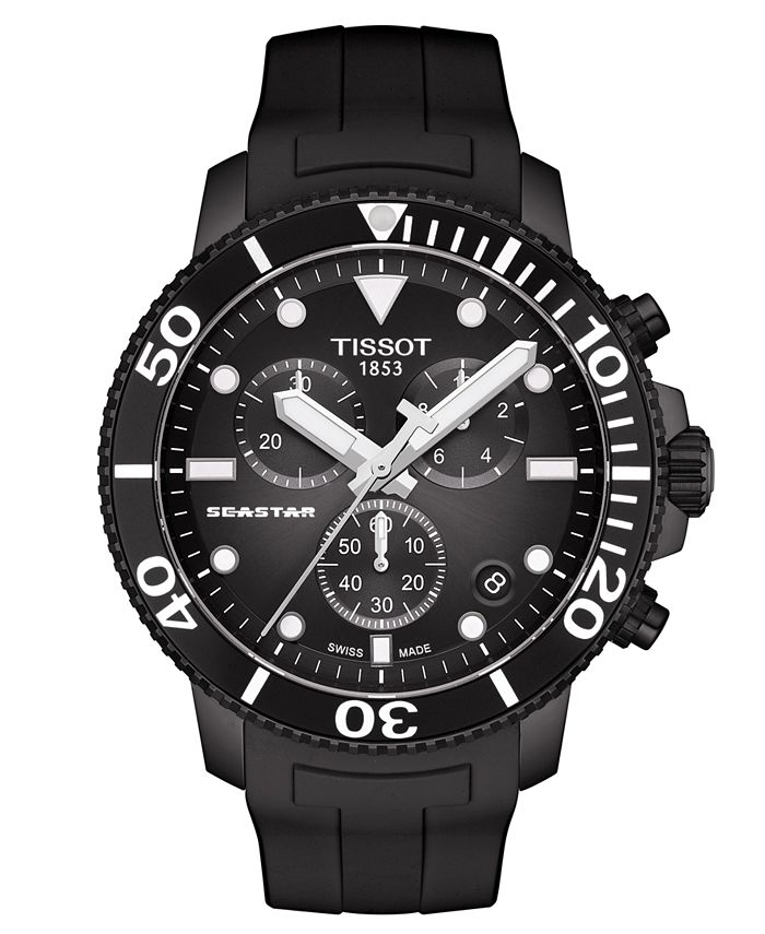 Tissot - Men's Swiss Chronograph SeaStar Black Rubber Strap Watch 45.5mm